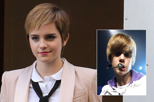 bieber hair template. Emma Watson#39;s Bieber hair: hot
