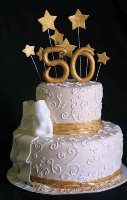 Pink Little Cake Gold And Light Ivory 50th Birthday Cake