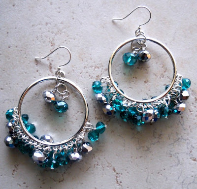 Peacock Hoops Earrings by Waterwaif