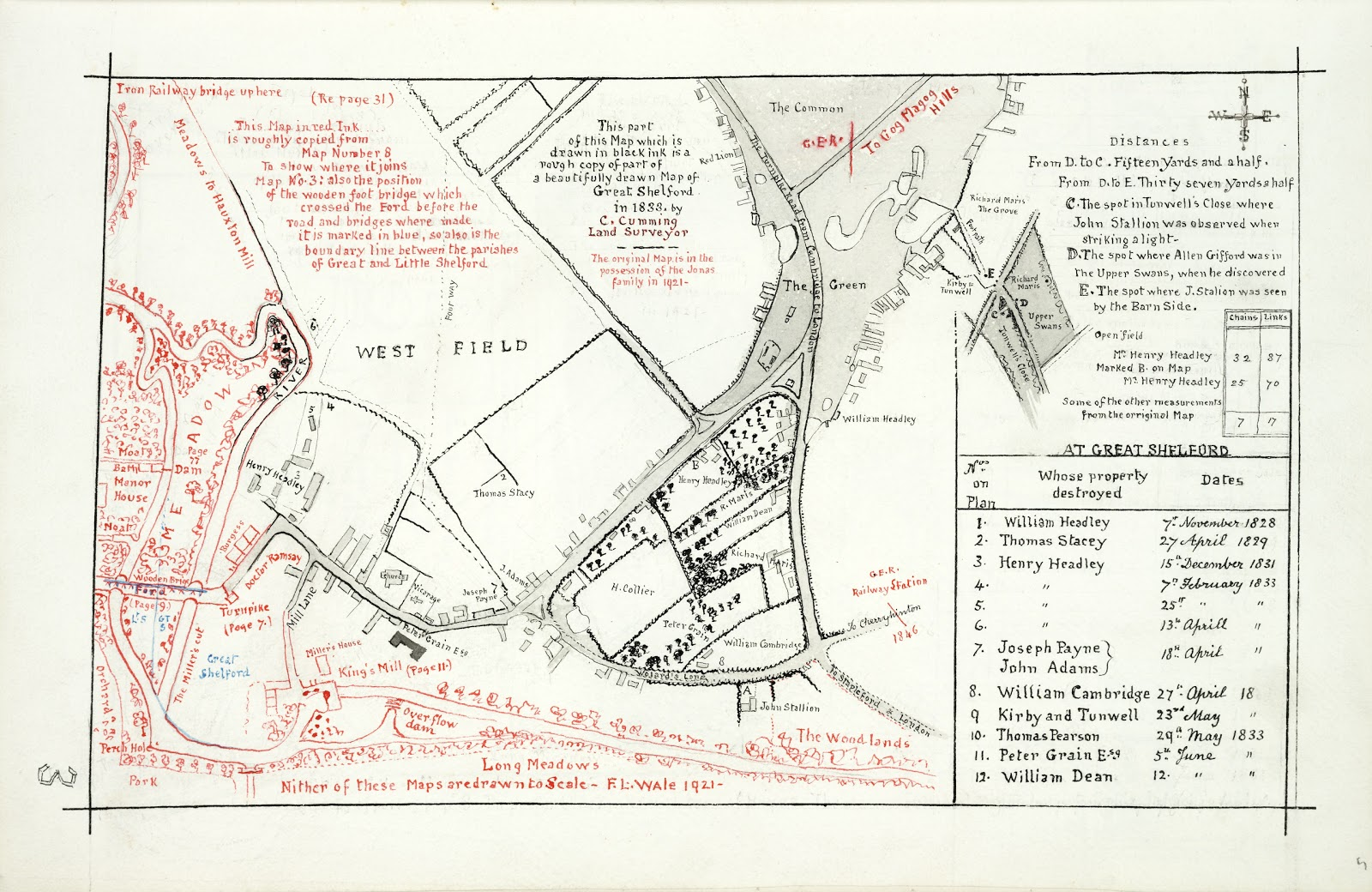 A Record of Shelford Parva by Fanny Wale P3 fo. 5, page 3: A full page map of Great Shelford, half of which is drawn in black, half in red. The black side is a rough copy of a map drawn in 1833, the red side is a rough copy of a previous map to show where it joins up, with lists of reference and list of fires. The maps are not drawn to scale. [R105/081, fo. 3 is a photograph of a different map, apparently the professionally drawn map of 1833, including the list of fires, on which Fanny Wale's drawn copy in black ink is based, but with added notes to it]