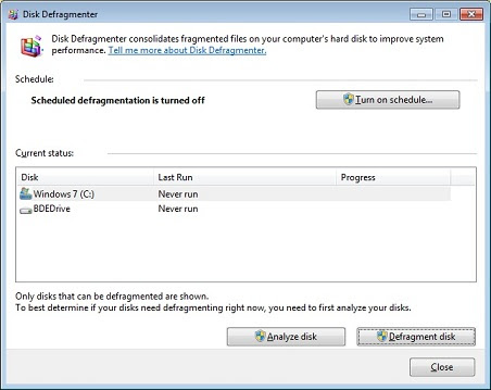 Disk defragmenter user interface