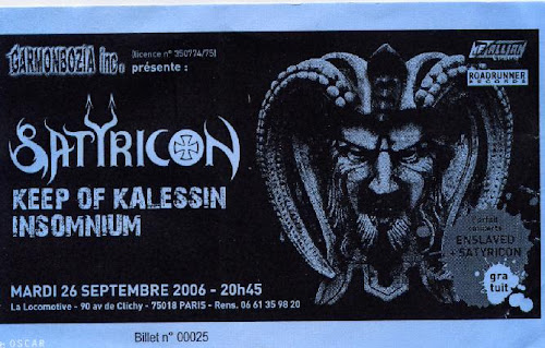 Satyricon / Keep of Kalessin @ La Locomotive, Paris 26/09/2006