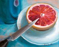 """Rosa Grapefruit"" 24x30cm Öl auf Leinwand"