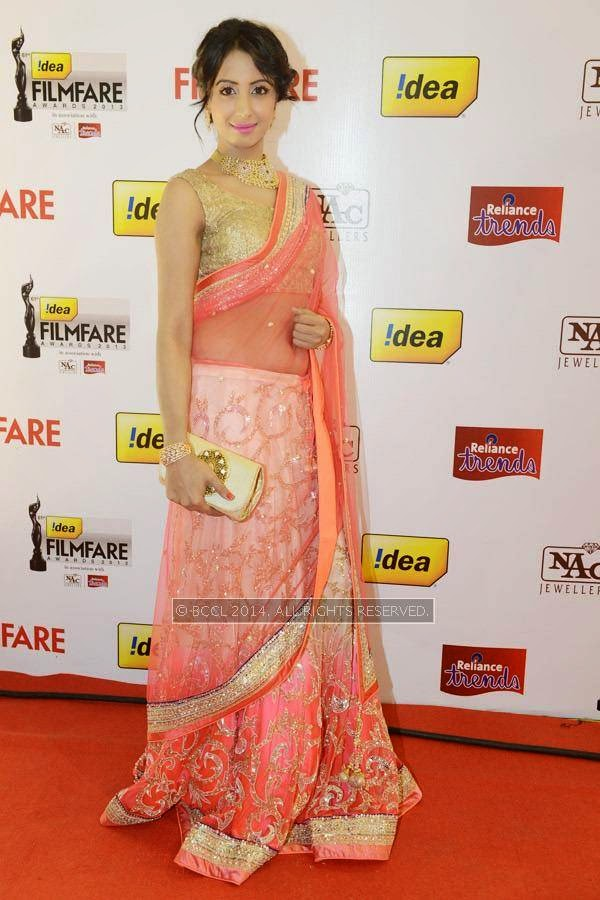 Sanjjanaa during the 61st Idea Filmfare Awards South, held at Jawaharlal Nehru Stadium in Chennai, on July 12, 2014.