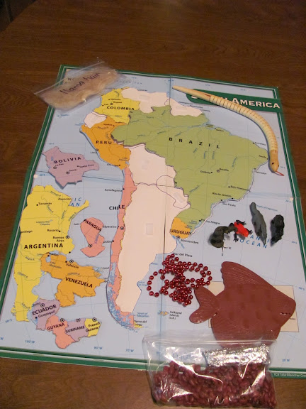 South America Map with Moveable Pieces (Photo from Montessori Tidbits)