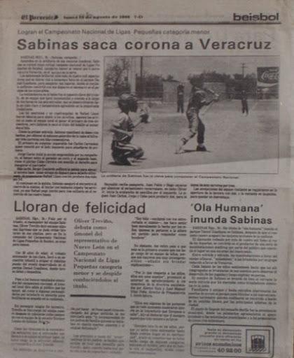Publicación del campeonato de Sabinas Hidalgo en el nacional menor de 1986