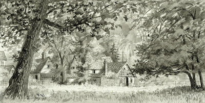 """The second view of Studio Cottage was taken from the wall near the Church. "" From A Record of Shelford Parva by Fanny Wale P46"