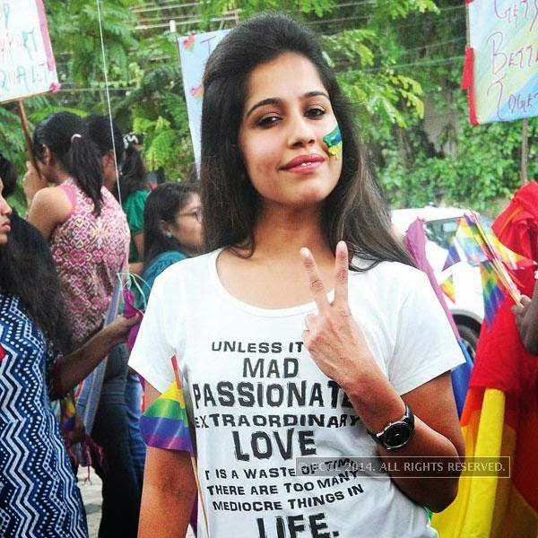 A participant during Queer Pride March, held in Kochi.