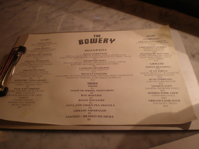 Tawfik Shehata's dinner menu at The Bowery.