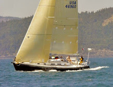 J/46 DIVA- cruiser-racer sailboat sailing in Van Isle 360 race off Vancouver Island