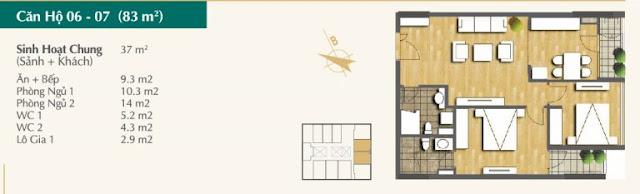Thiết kế căn hộ 06-07 (83m2)