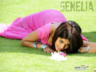 Genelia in plain pink saree