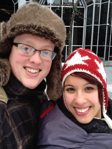 Justin and Kristina at PPG ice rink, Pittsburgh