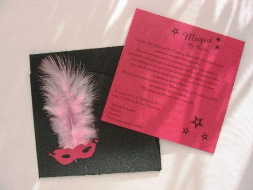 Invitaciones para imprimir: Invitación rosa con antifaz para ...