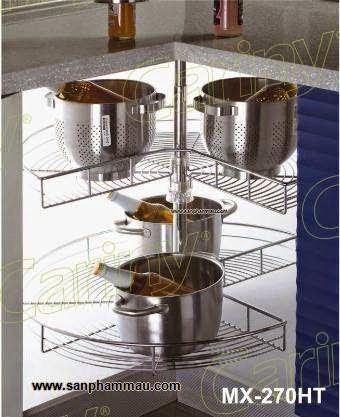 Phụ kiện inox lắp vị trí góc tủ bếp