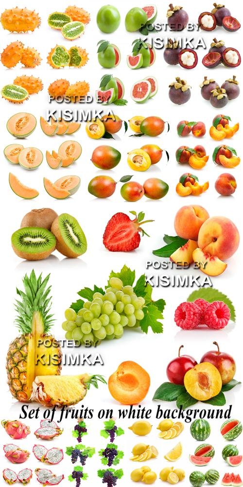 Stock Photo: Set of fruits on white background 25