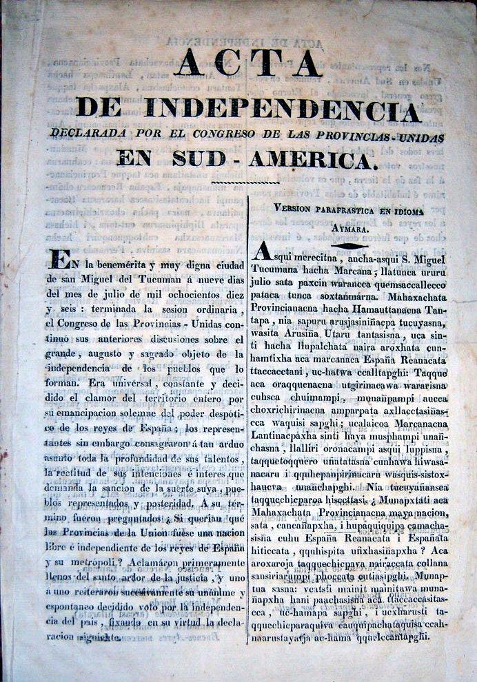Acta de Independencia en castellano y aymara