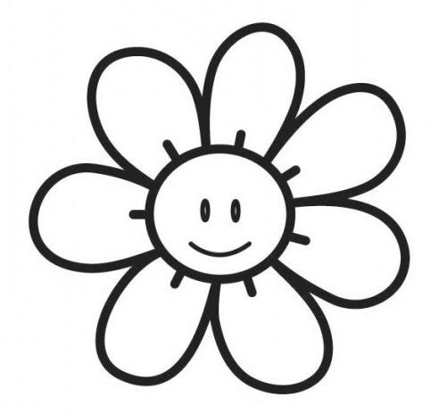 Pinto Dibujos: Colorear carita feliz flor