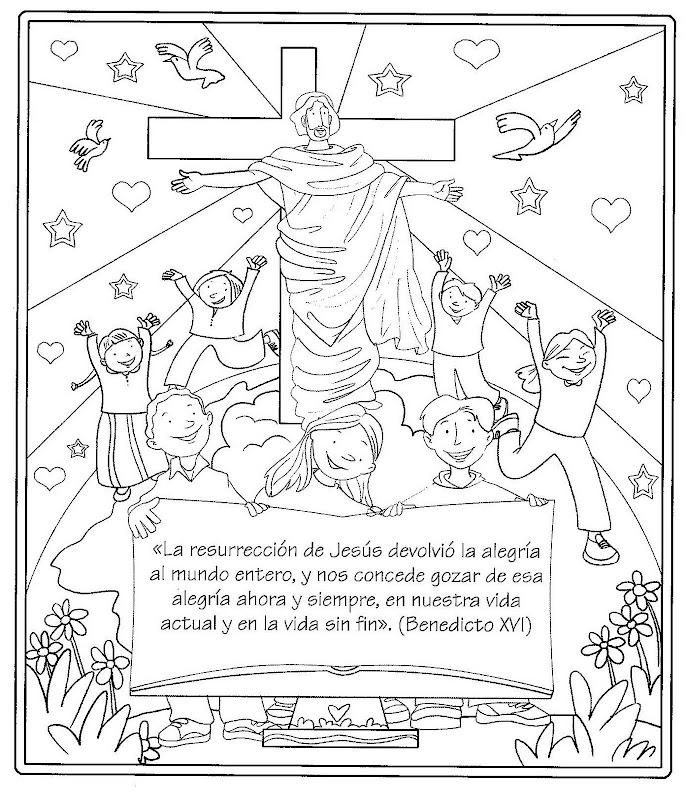 Dibujos Católicos : Imágenes de la resurrección de Jesús para colorear