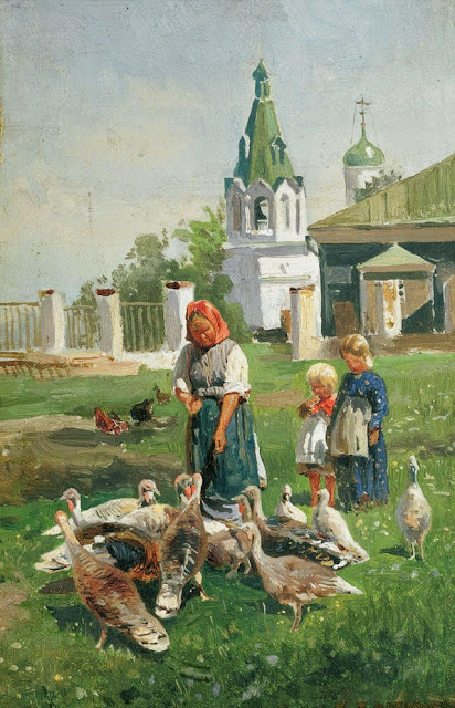 Nikolay Makovsky - Feeding Turkeys