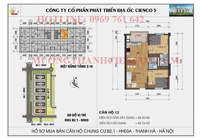 Sơ đồ chi tiết căn hộ chung cư b2.1 HH03A căn 12