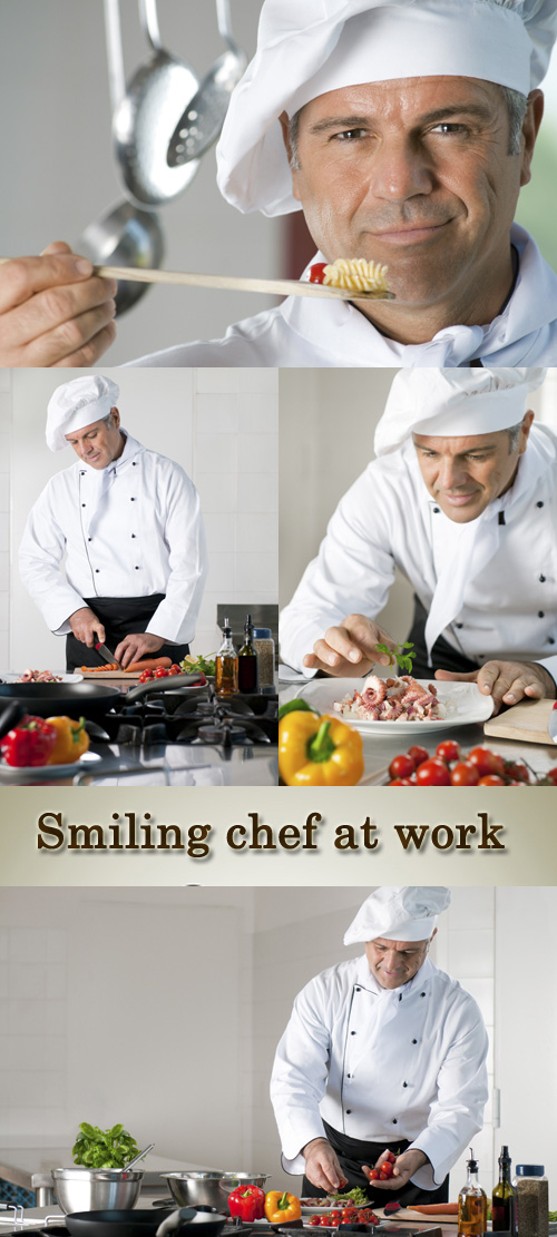 Stock Photo: Smiling chef at work