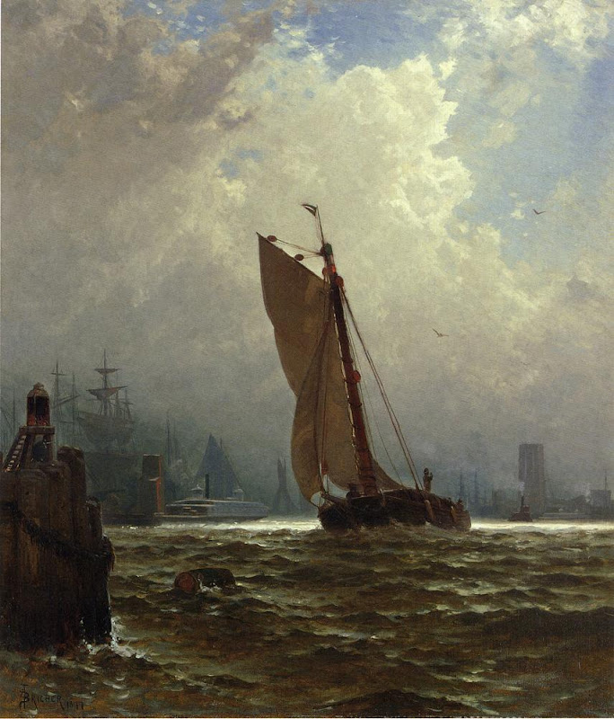 Alfred Thompson Bricher - New York Harbor with the Brooklyn Bridge Under Construction