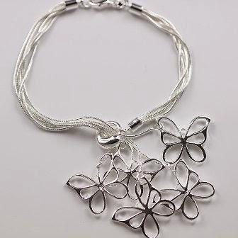 H027-Freeshipping-bracelet-Silver-Jewelry-jewellry-5-Charm-Tag-chain-Bracelets-Brand-New গহনার যত্ন-আত্তি