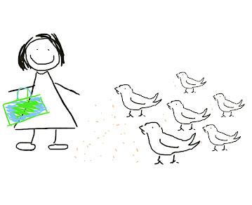Dibujo mujer alimentando palomas
