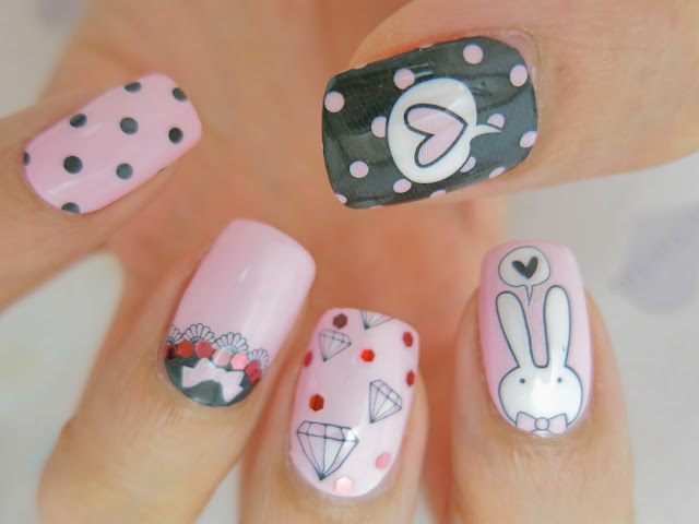 I've been painting my nails a lot lately. I paint about 4 times a week.  Although I wear a base coat each time, but my nails are starting to turn a  little ... - Easter Bunny Nail Wrap Nail Art A1007 - Chichicho~
