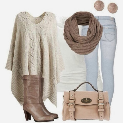 Light grey over size sweater, scarf, jeans and high heel boots for fall