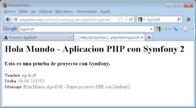 Ejemplo de salida de proyecto symfony 2