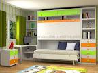 Dormitorio Modular con mesa de estudio, mesilla, y 2 camas abatibles