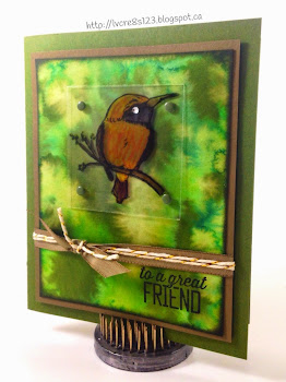 Linda Vich Creates: A Happy Thing. The delightful bird from Stampin' Up's, A Happy Thing stamp set, perches on a branch amidst an organic watercolor background.