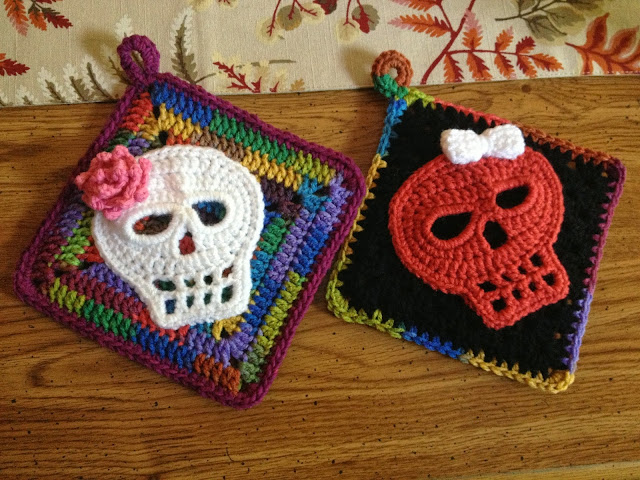 Crochet Sugar Skull Potholders