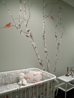 Diy nursery wall mural blogher for Diy birch tree wall mural