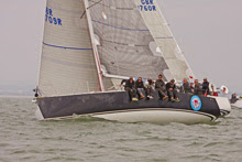 J/109 one-design sailboat- sailing upwind at Vice Commodore's Cup- Cowes, England