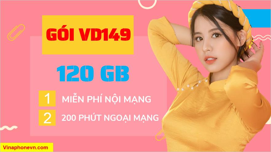 Gói VD149 của Vinaphone, sim 4G vinaphone 120GB tháng