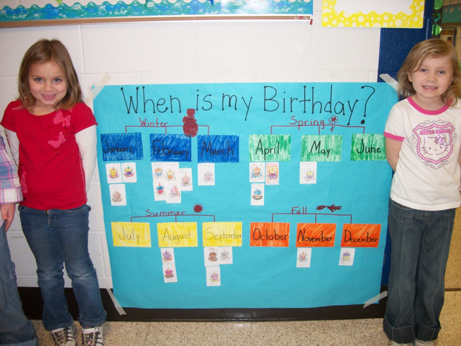 Tyra and hailey helped me put up our seasons birthday chart ms young