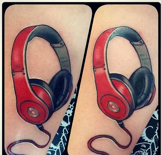 Music headphones tattoos