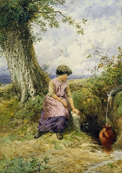 Myles Birket Foster - Girl with a Pitcher
