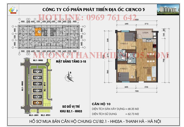 Sơ đồ chi tiết căn hộ chung cư b2.1 HH03A căn 10