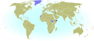 World map marking sovereign states and dependent territories which do not have IOC-recognized National Olympic Committees, and are thus not allowed to send their own teams to the Olympics