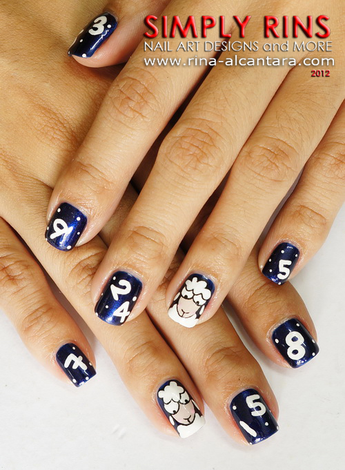 Counting Sheep Nail Art Design