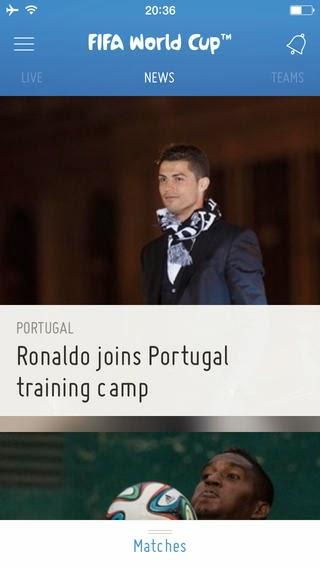 2014 브라질 월드컵 뉴스 정보를 보여주는 영문 앱