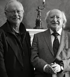 Irish Poet Brendan Kennelly from Trinity College Dublin and President Micheal D Higgins photographed by Sandrine Brisset in the Aras an Uachtarain