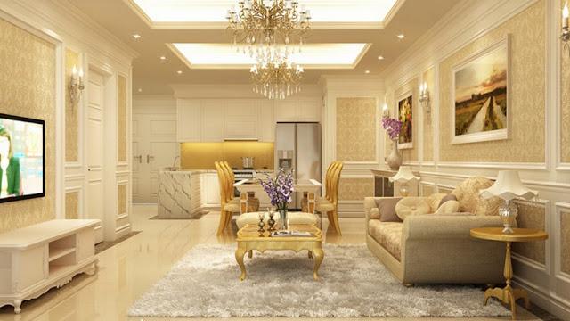 Phòng khách và bếp chung cư Louis City với nội thất tân cổ điển