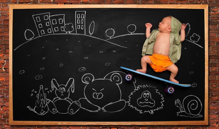 *嬰兒的奇幻黑板冒險:趁熟睡中惡搞一番! 7