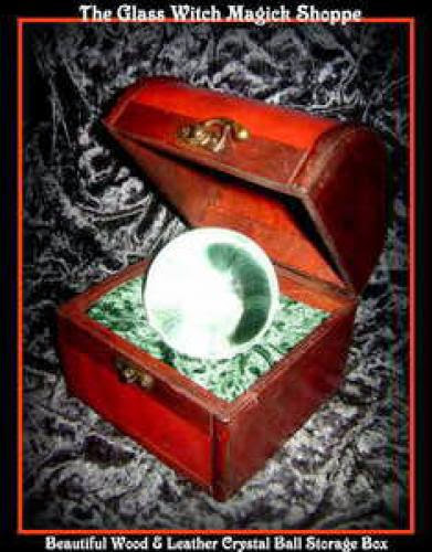 Beautiful Wood And Leather Crystal Ball Storage Box 25 00