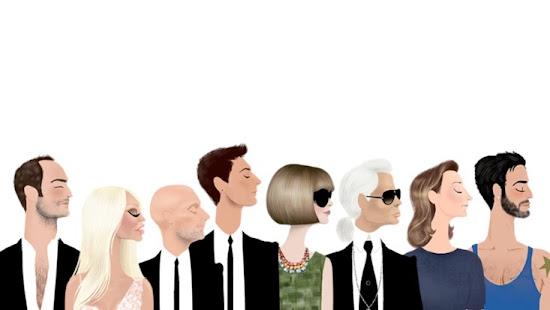 Adrian Valencia Fashion Illustrations Anna Wintour,Marc Jacobs, Donatella Versace, Karl Lagerfeld, Tom Ford